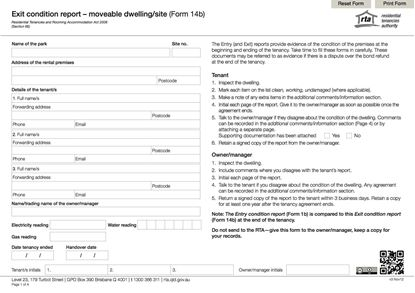 Picture of Queensland Exit Condition Report - Moveable Dwelling / Site