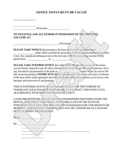 wisconsin notice to pay or vacate