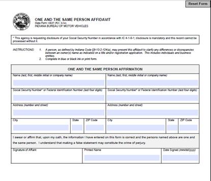 indiana same name affidavit