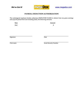 payroll deduction consent form