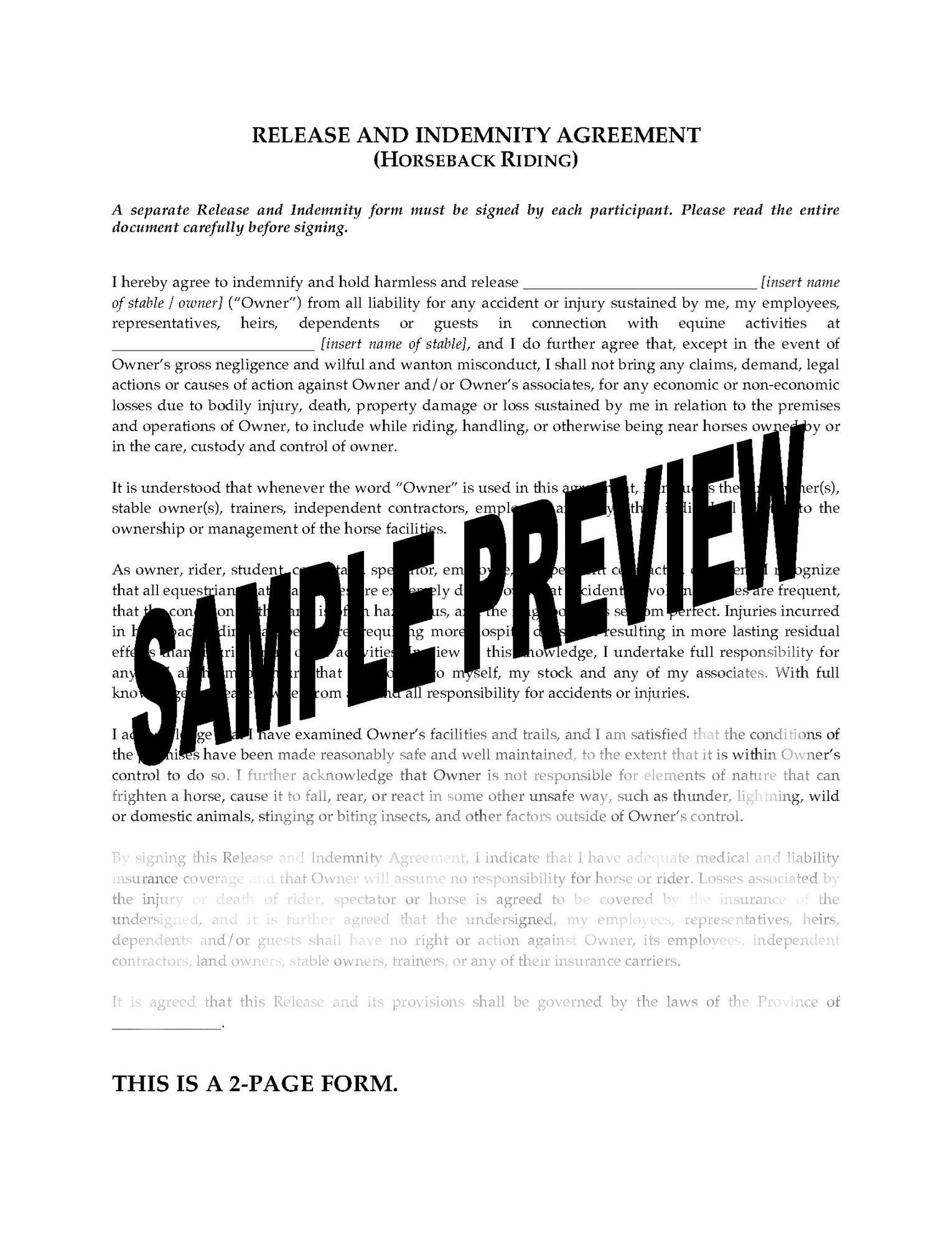 Canada horseback riding release form legal forms and business horseback riding release solutioingenieria Gallery