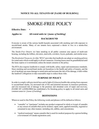 Ontario smoke free policy