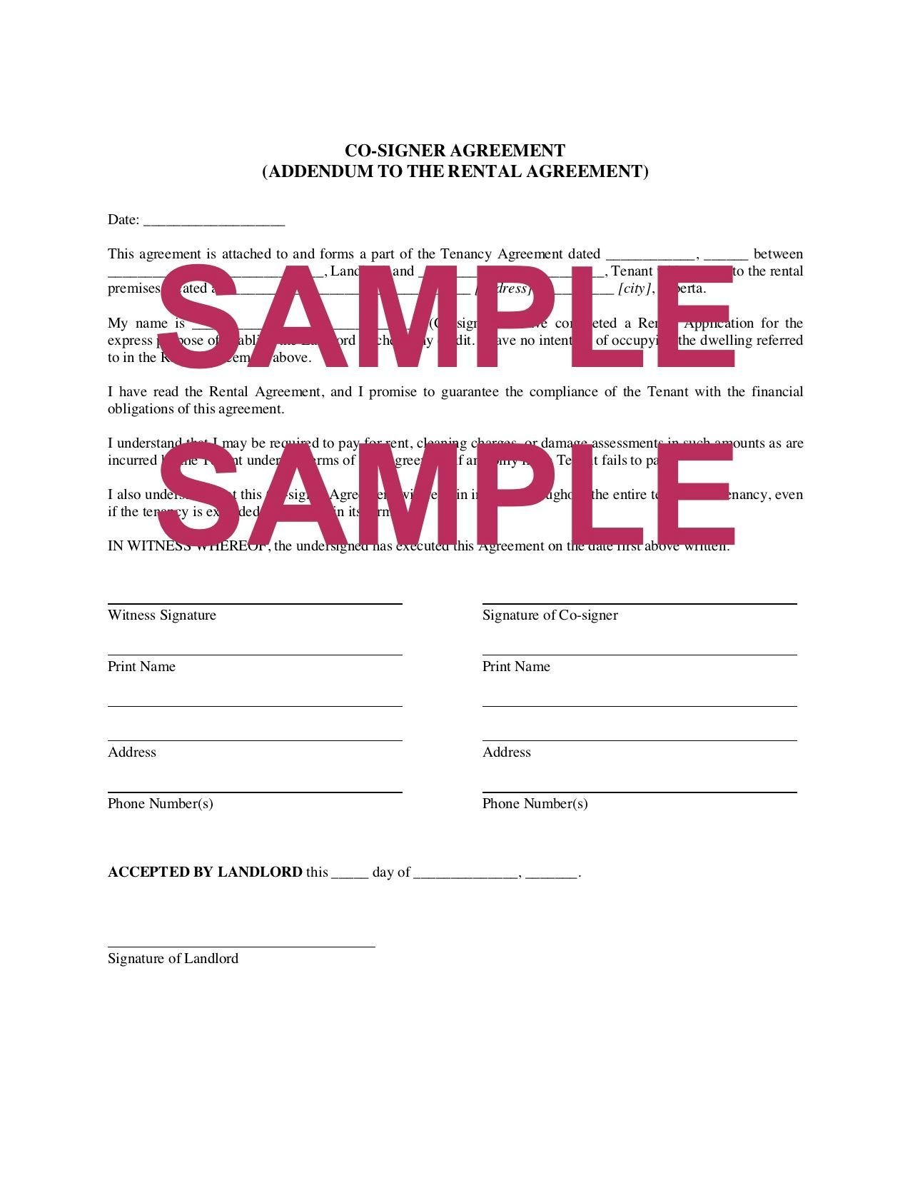 Alberta Lease Co Signer Agreement Legal Forms And Business