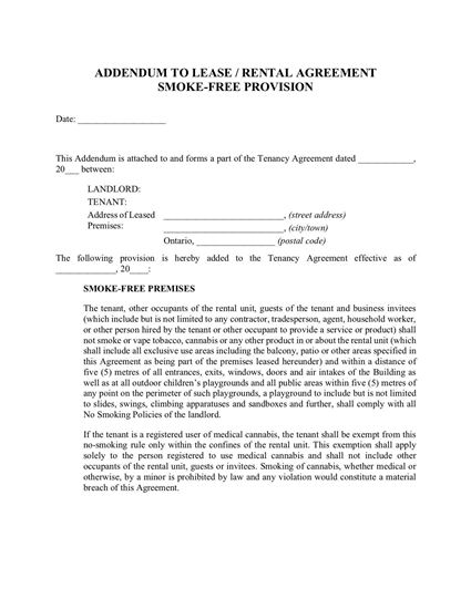 ontario smoke free lease addendum
