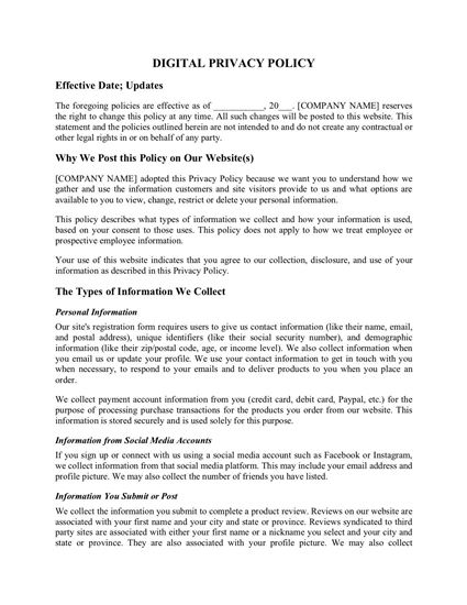 website privacy policy page 1