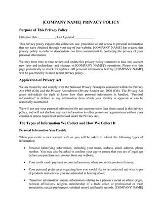 Australia website privacy policy