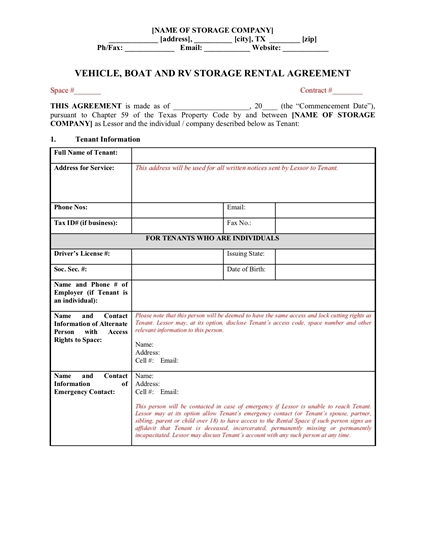 vehicle storage contract