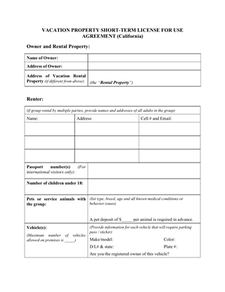 Picture of California Vacation Property Rental Agreement