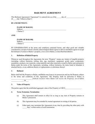 bailment agreement for equpment