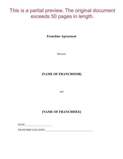Canada franchise agreement 1
