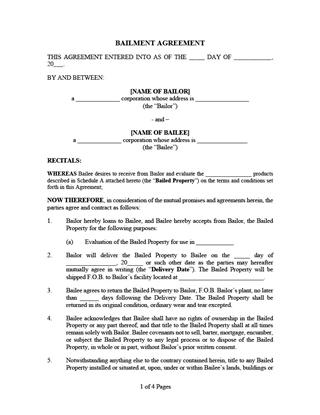 bailment agreement for evaluation