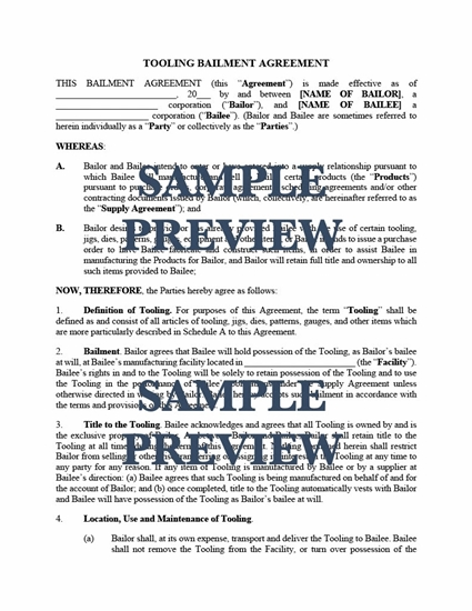 Picture of Tooling Bailment Agreement | USA
